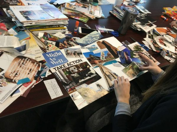 Person working on vision board